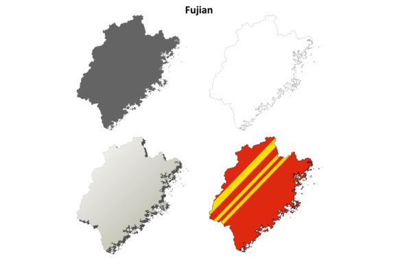 Download Free Fujian Outline Map Set Graphic By Davidzydd Creative Fabrica for Cricut Explore, Silhouette and other cutting machines.