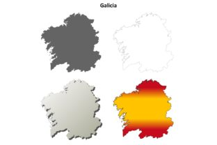 Galicia Outline Map Set Graphic Illustrations By davidzydd