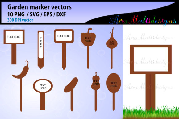 Download Free Garden Marker Template Graphic By Arcs Multidesigns Creative for Cricut Explore, Silhouette and other cutting machines.