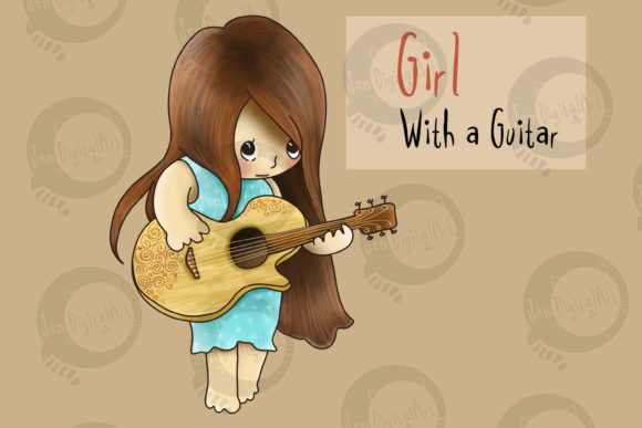 Girl with a Guitar Graphic Illustrations By Jen Digital Art