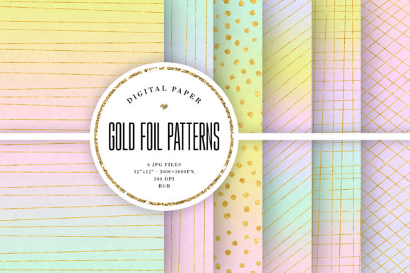 Print on Demand: Gold Foil Patterns - Pastel Backgrounds Graphic Backgrounds By Sabina Leja