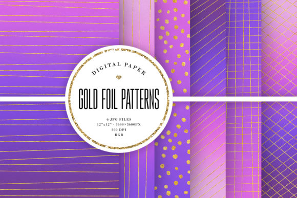Print on Demand: Gold Foil Patterns - Purple Backgrounds Graphic Backgrounds By Sabina Leja