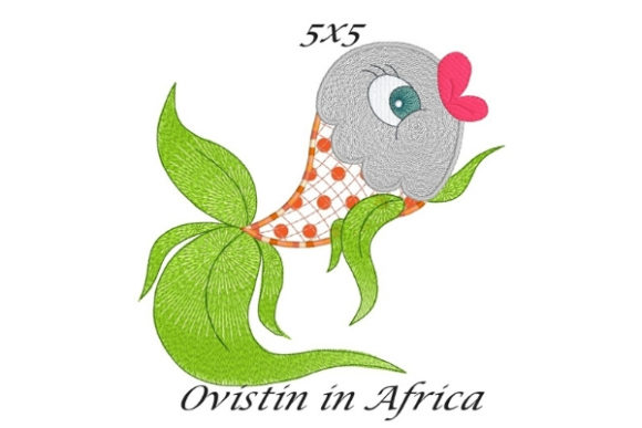 Green Elegant Applique Fish Fish & Shells Embroidery Design By Ovistin in Africa