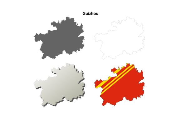 Download Free Guizhou Outline Map Set Graphic By Davidzydd Creative Fabrica for Cricut Explore, Silhouette and other cutting machines.