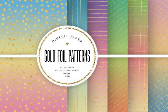 Print on Demand: Hand-Drawn Gold Foil Pattern Backgrounds Graphic Backgrounds By Sabina Leja
