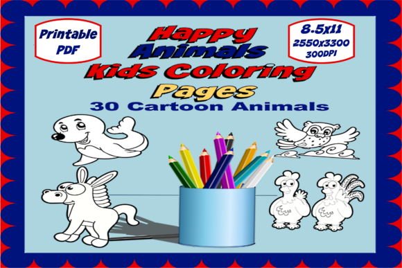 Happy Animals  Kids Coloring Pages Graphic Coloring Pages & Books Kids By JMB Creative Designs