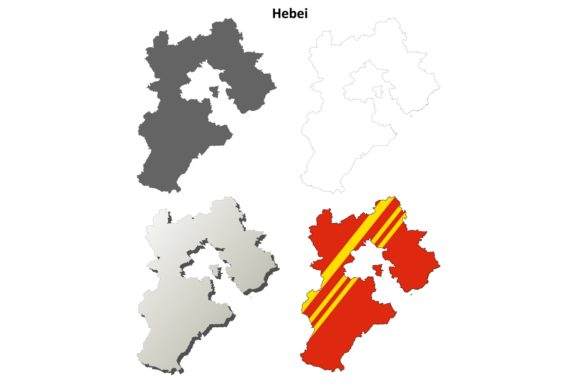 Download Free Hebei Outline Map Set Graphic By Davidzydd Creative Fabrica for Cricut Explore, Silhouette and other cutting machines.