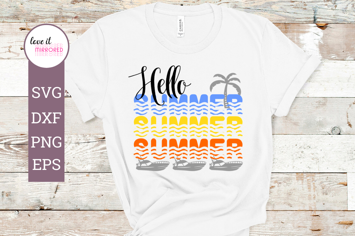 Download Free Hello Summer Mirror Word Cut File Graphic By Love It Mirrored for Cricut Explore, Silhouette and other cutting machines.