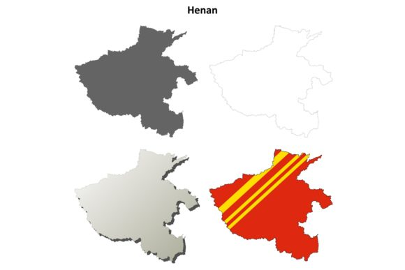 Download Free Henan Outline Map Set Graphic By Davidzydd Creative Fabrica for Cricut Explore, Silhouette and other cutting machines.