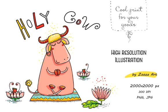 Print on Demand: Holy Cow Funny Illustration Graphic Illustrations By Zooza Art