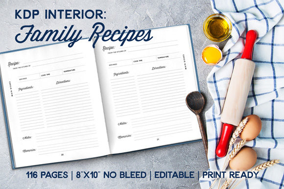 Print on Demand: KDP Ready Family Recipe Interior Graphic KDP Interiors By Mellbelle