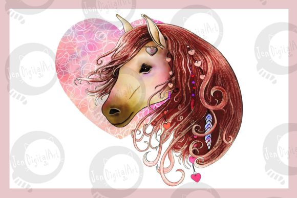 Love Horse Graphic Illustrations By Jen Digital Art