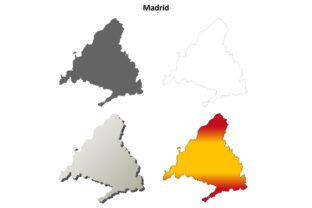 Madrid Outline Map Se Graphic Illustrations By davidzydd