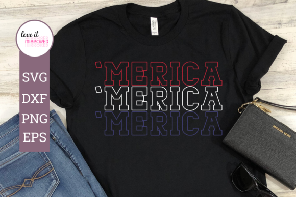 Print on Demand: Merica Mirror Word Cut File Graphic Crafts By Love It Mirrored
