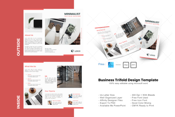 Download Free Minimal Pro Trifold Brochure Template Graphic By Rivatxfz for Cricut Explore, Silhouette and other cutting machines.