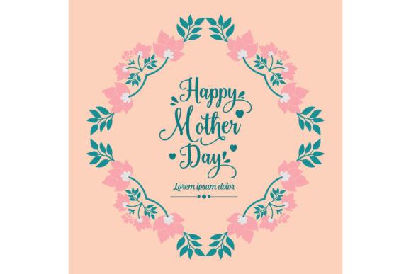 Modern Floral Frame for Happy Mother Day Graphic Backgrounds By stockfloral
