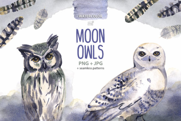 Download Free Moon Owls Cliparts Graphic By Natalimyastore Creative Fabrica for Cricut Explore, Silhouette and other cutting machines.