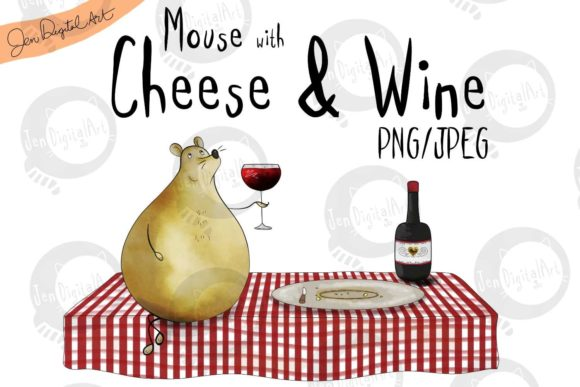 Mouse with Cheese and Wine Graphic Illustrations By Jen Digital Art