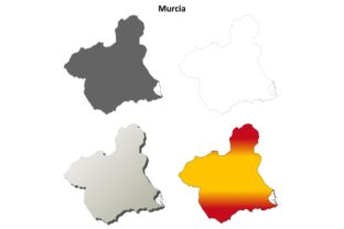 Murcia Outline Map Set Graphic Illustrations By davidzydd