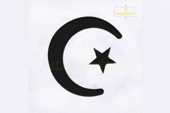 Muslim Crescent and Star Religion & Faith Embroidery Design By RoyalEmbroideries