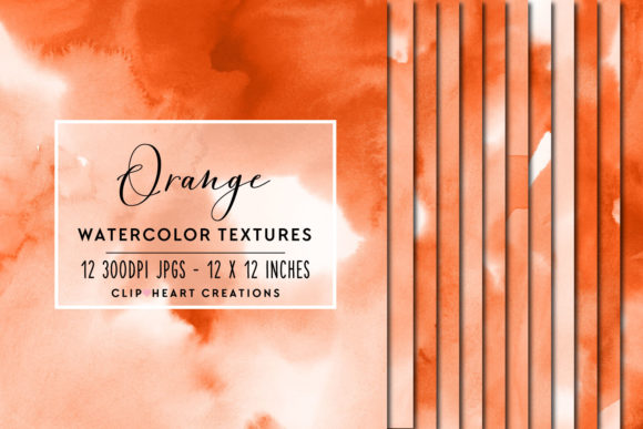 Orange Watercolor Digital Papers Graphic By Clipheartcreations