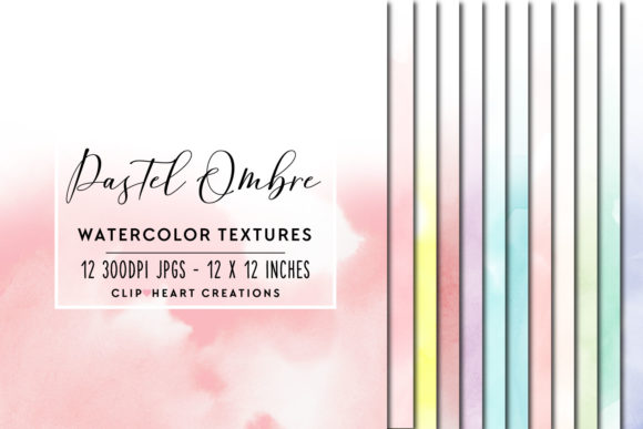 Pastel Ombre Watercolor Digital Papers Graphic Backgrounds By clipheartcreations