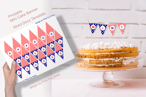 Print on Demand: Patriotic Printable Mini Cake Flags Graphic Print Templates By print.cut.hang