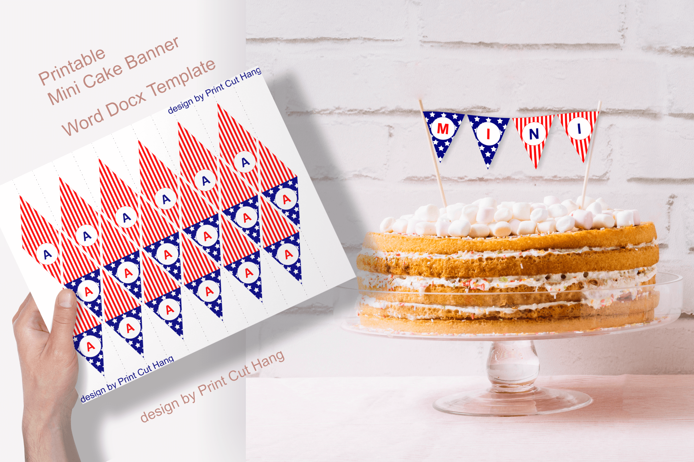 Download Free Patriotic Printable Mini Cake Flags Graphic By Print Cut Hang for Cricut Explore, Silhouette and other cutting machines.