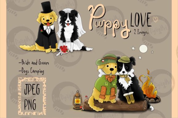 Puppy Love Graphic Illustrations By Jen Digital Art
