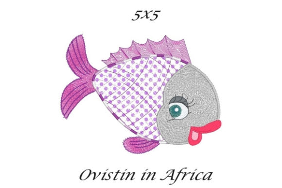Purple Sassy Applique Fish Fish & Shells Embroidery Design By Ovistin in Africa - Image 1