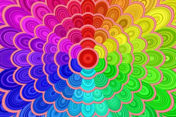 Rainbow Floral Mandala Background Graphic Backgrounds By davidzydd