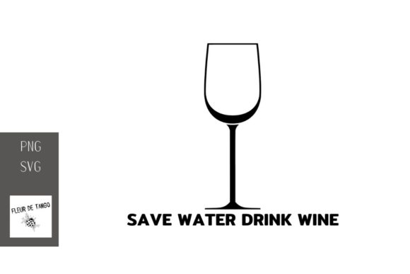 Print on Demand: Save Water Drink Wine 2 Graphic Illustrations By Fleur de Tango