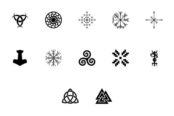 Print on Demand: Scandinavian Symbols and Culture Black Graphic Web Elements By magistr0505