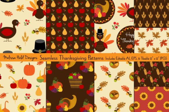 Seamless Thanksgiving Patterns Graphic Patterns By Melissa Held Designs