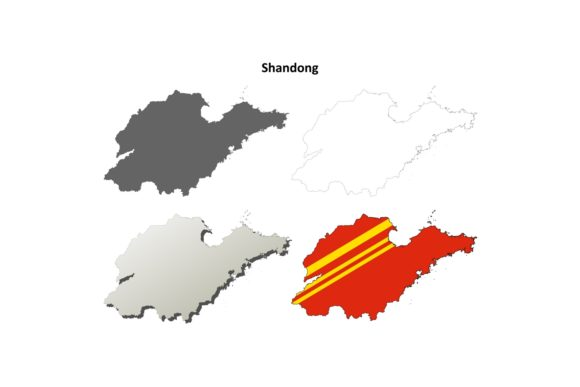 Download Free Shandong Outline Map Set Graphic By Davidzydd Creative Fabrica for Cricut Explore, Silhouette and other cutting machines.