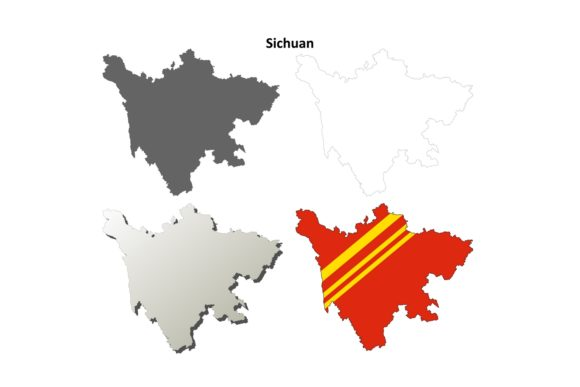 Download Free Sichuan Outline Map Set Graphic By Davidzydd Creative Fabrica for Cricut Explore, Silhouette and other cutting machines.