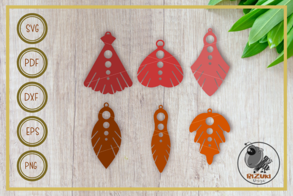 Download Free Six Elegant Earring Design Graphic By Rizuki Store Creative for Cricut Explore, Silhouette and other cutting machines.