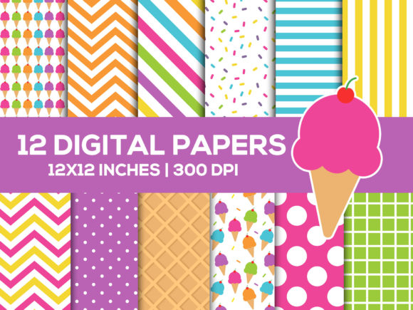 Summer Ice Cream Digital Papers Set Graphic Backgrounds By TitaTips