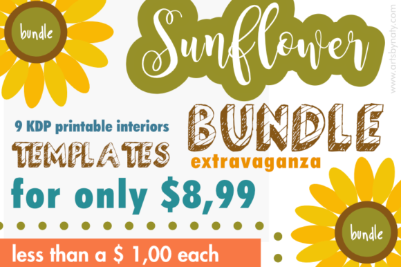 Print on Demand: Sunflower Extravaganza Themed Bundle Graphic KDP Interiors By artsbynaty