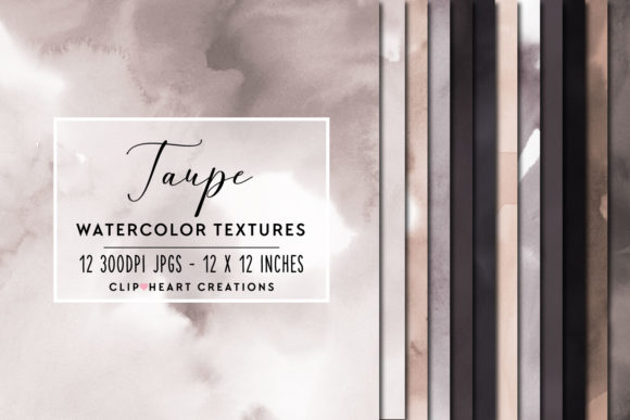 Taupe Watercolor Digital Papers Graphic Backgrounds By clipheartcreations