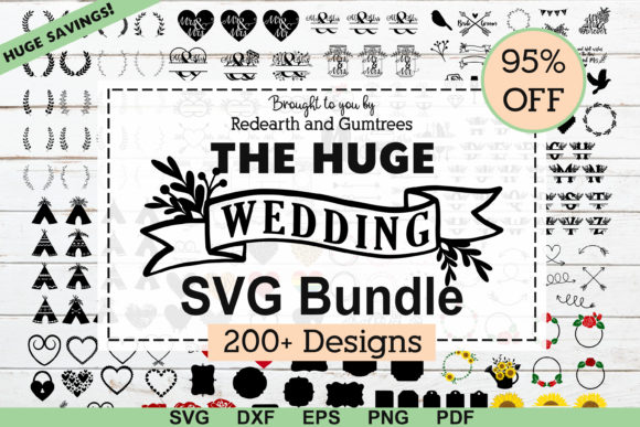 Download Free The Huge Wedding Newlyweds Bundle Graphic By Redearth And for Cricut Explore, Silhouette and other cutting machines.
