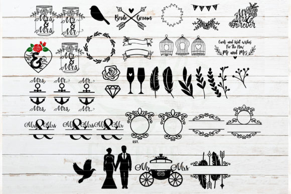 The Huge Wedding Newlyweds Bundle Graphic Crafts By redearth and gumtrees - Image 3