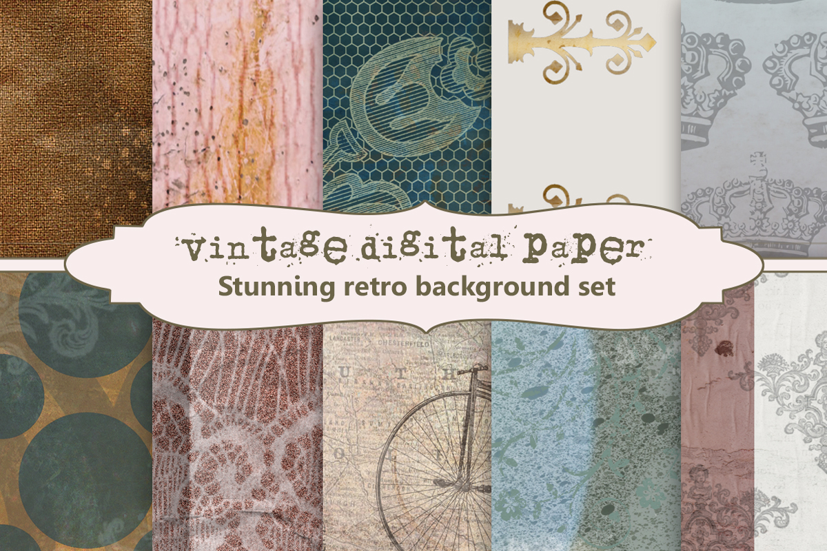 Download Free Vintage Digital Paper Background Set Graphic By A Design In Time for Cricut Explore, Silhouette and other cutting machines.
