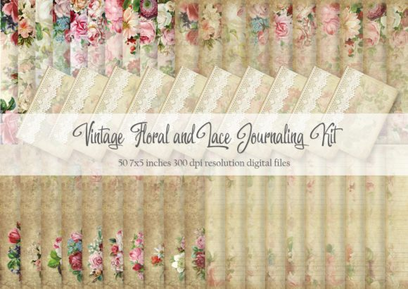 Print on Demand: Vintage Floral Journaling Digital Papers Graphic Patterns By Simply Paper Craft