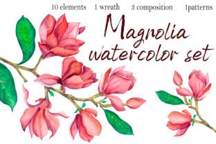 Print on Demand: Watercolor Magnolia Flowers Clipart Graphic Illustrations By ElenaZlataArt