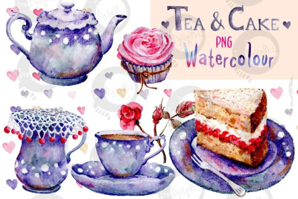 Watercolour Tea and Cake Graphic Illustrations By Jen Digital Art
