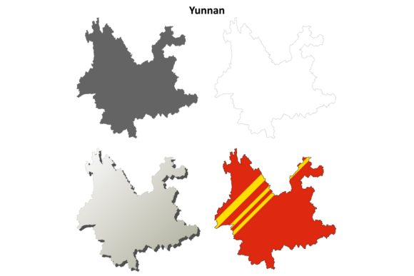 Download Free Yunnan Outline Map Set Graphic By Davidzydd Creative Fabrica for Cricut Explore, Silhouette and other cutting machines.