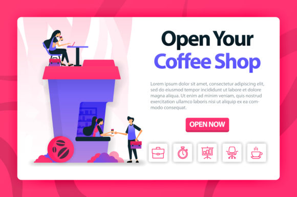 Download Free Landing Page Of Coffee Shop Graphic By Setiawanarief111 for Cricut Explore, Silhouette and other cutting machines.