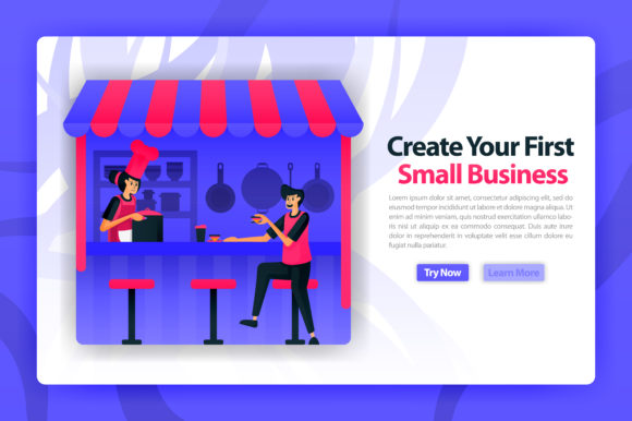 Download Free Landing Page Of Food Stall Business Graphic By Setiawanarief111 for Cricut Explore, Silhouette and other cutting machines.