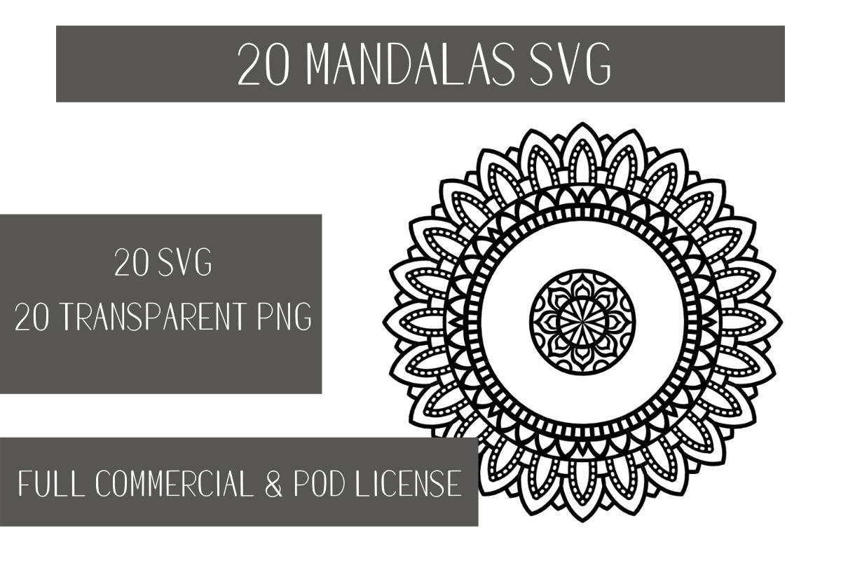 Download Free 20 Mandalas Bundle Bundle Creative Fabrica for Cricut Explore, Silhouette and other cutting machines.